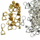 10 Pinch Bails Clips for Pendants 12mm Jewellery Making Findings Silver or Gold