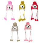 Z83 GIRLS WINTER WARM FAUX FUR LINED BEANIE SKI HAT TEDDY BEAR POM POM BOBBLE