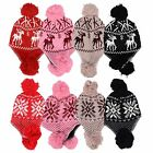 Ladies Double-layer Pilot Cap Ski Hats with Pompon Knitted Soft Warm Hat