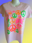 NEW HIPPY T-SHIRT - Neon Peace Symbols