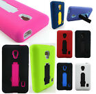 For LG Optimus F6 IMPACT HYBRID KICKSTAND Hard Rubber Case Phone Cover Accessory
