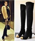 Womens Sexy Leather Metallic Toe Buckle Strap Over Knee Thigh High Boots Shoes