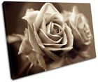 Rose Love Sepia Floral SINGLE CANVAS WALL ART Picture Print VA