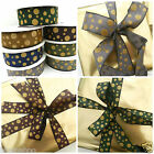 BUY ONE GET ONE FREE  Christmas glittery  wired ribbon 3 metre roll 25MM