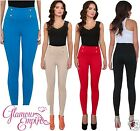 Ladies Stretch Slim Trousers High Rise Pants Full Length Treggings UK 8-16 903