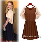 Pinup Women Loose Sleeve Contrast Splicing Stretch Casual Cocktail Skater Dress