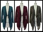 NEW PINTUCKED DRAPE Open KNIT Hi Lo CARDIGAN~TEAL/WINE/TAUPE S~M~L~NWT Free Ship