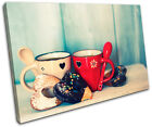 Love Retro Vintage Food Kitchen SINGLE CANVAS WALL ART Picture Print VA