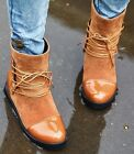 Womens Fashion Patent Toe Fuax Suede Lace Up Hidden Wedge Ankle Boots Shoes 918