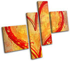 Heart Grunge Yellow Red LOVE MULTI CANVAS WALL ART Picture Print VA