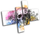 Tattoo Skull Grunge Floral Graffiti MULTI CANVAS WALL ART Picture Print VA