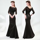 Graceful 3/4 Sleeve Mermaid Bridal Wedding Dresses Prom Gown Evening dress