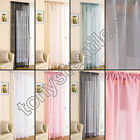 GLITTER SPARKLE NET VOILE CURTAIN SLOT TOP PANEL BLACK WHITE CREAM PINK BLUE
