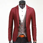 Wine Red Stylish Cool Men Slim Fit One Button Blazer Coat Suit Jacket Outwear
