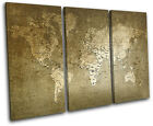 world Old Green/Black Maps Flags TREBLE CANVAS WALL ART Picture Print VA