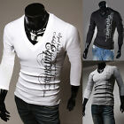 HOT SALE Sexy V-neck Men's Slim Fit Long Sleeve T-Shirt 3Colors IN XS S M L