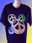NEW HIPPY T-SHIRT - Groovy Peace Signs