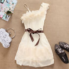 Fashion Flower One Shoulder Party Pleated Chiffon Dress for Beauty Girl Lady,Y4