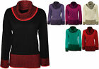 New Womens Plus Size Cowl Neck Lurex Long Sleeve Top Ladies Knitted Jumper 14-20
