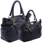 MOGAN Leopard Trim Faux LEATHER LARGE TOTE w Shoulder Strap Handbag
