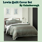3 Pce - LEWIN Grey Blue Jacquard Quilt Cover Set by Gainsborough - QUEEN KING
