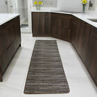 Brown Black Striped Hallway Runner Rugs Long Hall Sisal Effect Flat Weave Mat UK