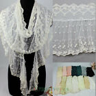 Delicate Women's Cotton Embroidery Floral Lace Tulle Ruffle Trim Thin Long Scarf