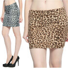 MOGAN Leopard Print Stretch Knit Fitted Mini Skirt w/ Foldover Waistband