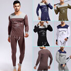 Winter Warm Men Comfy Long Cotton Underwear Thermal T-Shirt+Pants Trousers S M L