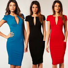 Sexy Women Slim Fit Deev V Neck Cap Sleeve Career Office Lady Party Pencil Dress