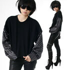 RTBU Punk Rock Cropped Raw Edge Oversized Sweatshirt Polkadot Satin Sleeve Sport