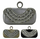 Elegant Diamante Hard Case Womens Clutch Bag Ring Clasp Wedding Special Events