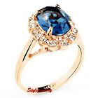 Rose Gold Plate Oval Blue Sapphire Swarovski Crystal Wedding Engagement Ring R59