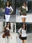 New Womens Color Block Long Sleeve Crew Neck T-Shirt Blouse Casual Tee Tops
