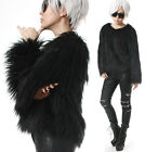 RTBU Punk Rock Shaggy Faux Fur Furry Gorilla Raglan Crop Sweatshirt Runway Chic