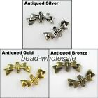 40pcsTibetan silver Butterfly Bowknot Charm Connector Retro Silver/Golden/Bronze