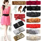 Women's Vintage Flower Elastic Stretch Sequin Waist Belt Waistband Bowknot 35DI