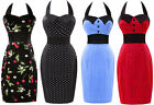 Vintage Women Girl Halter Rockabilly 50's 60's Swing Fit Prom Dress UK Size 6-20
