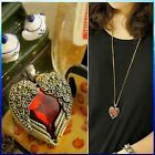 Vintage Retro Bronze Red Crystal Angel Wing Heart Chain Necklace