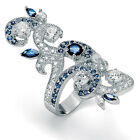 1.68 TCW Round Cubic Zirconia and Marquise-Cut Blue Glass Ring in Sterling Silve
