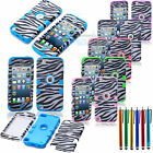 For iPod Touch 5 5th GEN Black Zebra Hybrid Skin Case Cover + Stylus