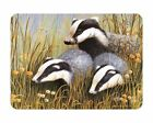 Glass Chopping Board Badger Trio Family Wildlife Kitchen Worktop Savers 3 Sizes