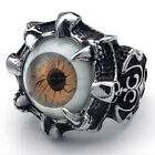 Men's 316L Stainless Steel Titanium Dragon Claw Brown Monster Eye Ring M073399