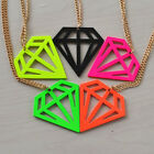 New Arrivals! Fashion Multicolor Geometry Diamond Shape Pendant Charm Necklace