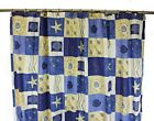 Patterned Shower Curtain Beach theme 178cm x 178cm Poly-Cotton New With Rings