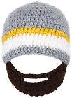 Soft Handcrafted Child Bearded Beanie Hat Winter Knitted Caps with Funny Beard