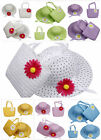 Fashion Kids Girls Child Flower Straw Summer Beach Sun Hat Cap Tote Handbag Set