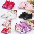 Leather Cotton Lace Girl Floral Baby Toddler Prewalker Dot Anti-slip Sole Shoes