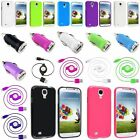 Jelly TPU Rubber Case+Retractable Cord+ Car Charger For Samsung Galaxy S4 i9500