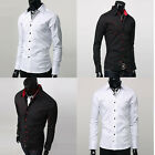 Handsome Mens Luxury Casual Slim Fit Stylish Formal Long Sleeve Dress Shirts PJ